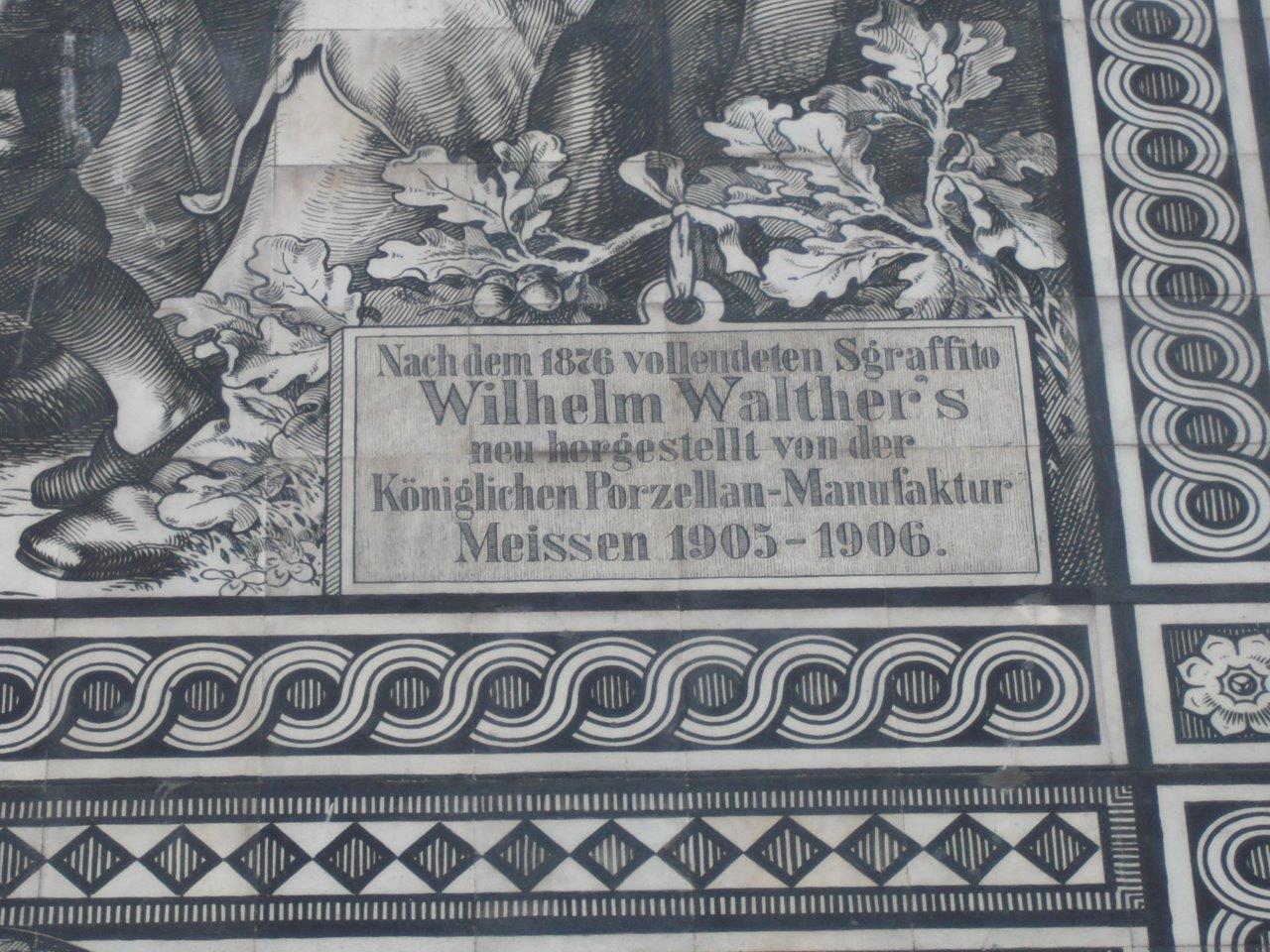 Detailansicht des Fürstenzugs in Dresden: Porzellanmanufaktur Meißen 1905-1906