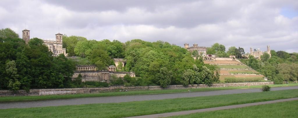 von links nach rechts: Schloss Albrechtsberg, Lingnerschloss, Schloss Eckberg