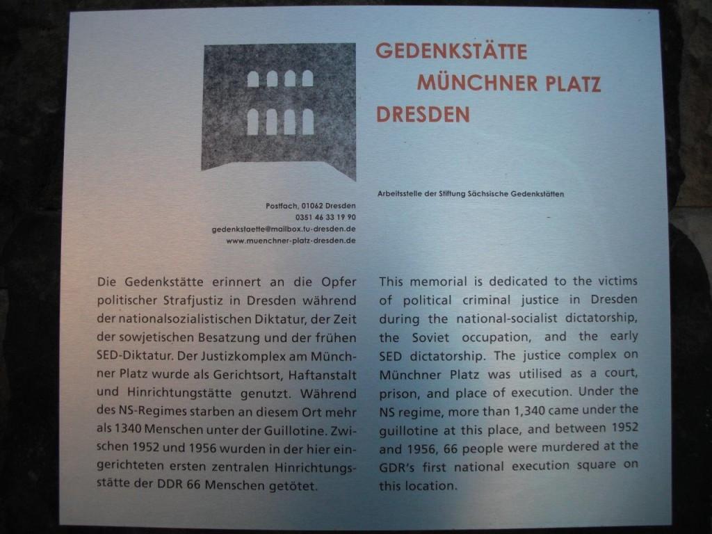 Gedenktafel an der Gedenkstätte Münchner Platz