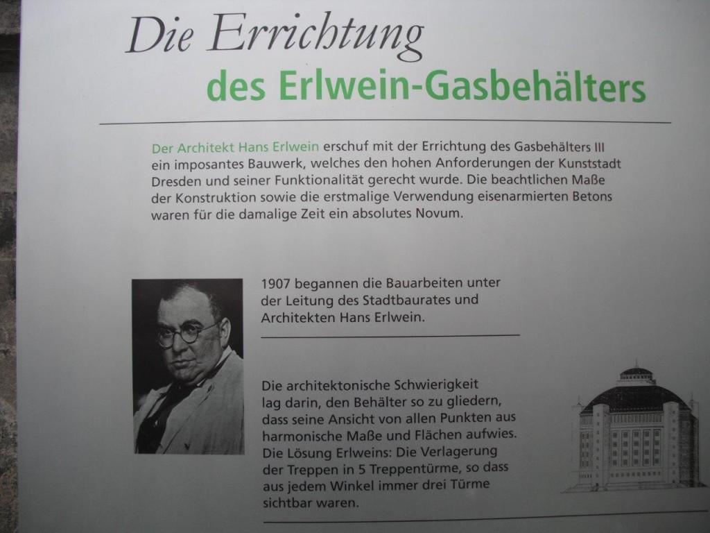 Informationstafel zum Erlwein-Gasbehälter in Dresden-Reick