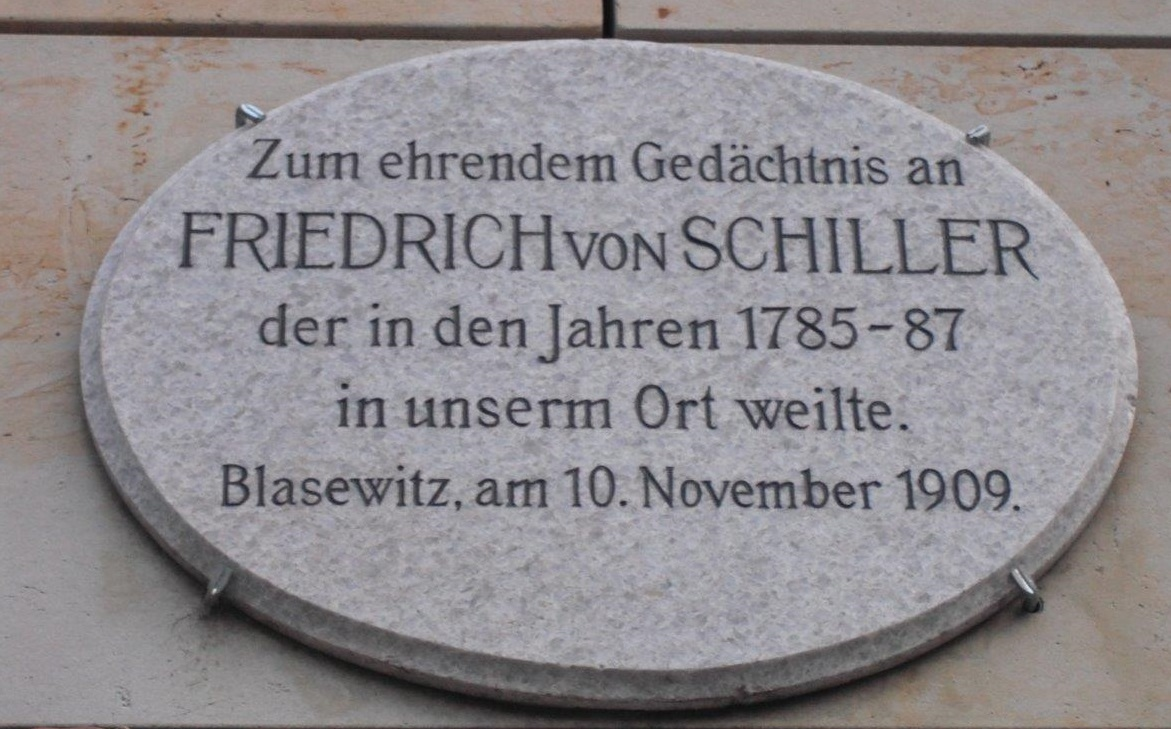 Gedenktafel für Friedrich Schiller am Schillerplatz, Blasewitz, Dresden