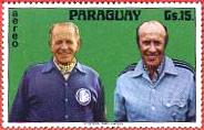 Helmut Schön (rechts) mit seinem Vorgänger Sepp Herberger auf einer Postkarte Paraguays
