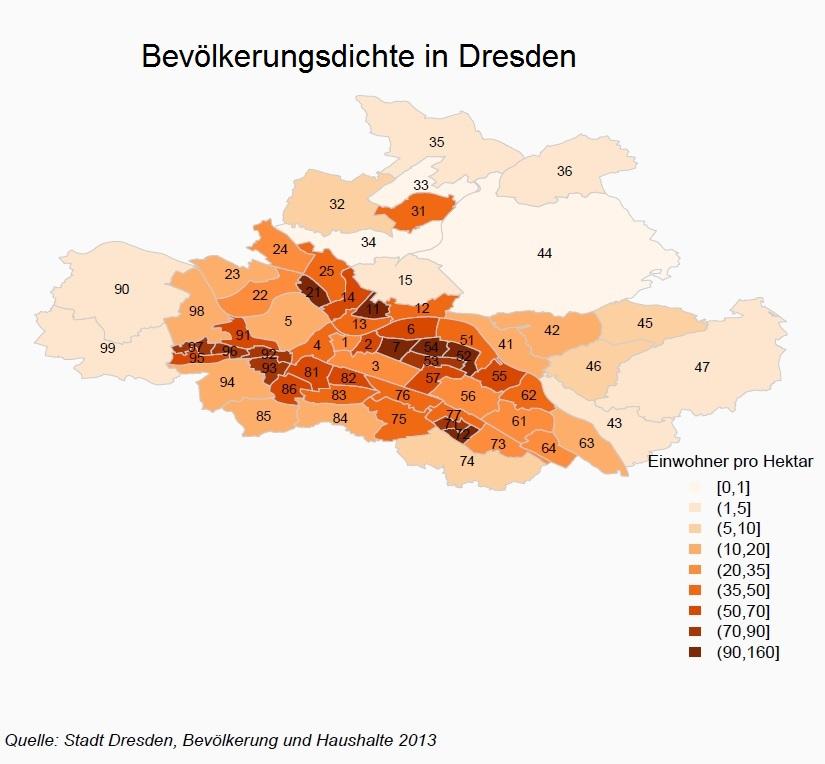 Bevölkerungsdichte in Dresden