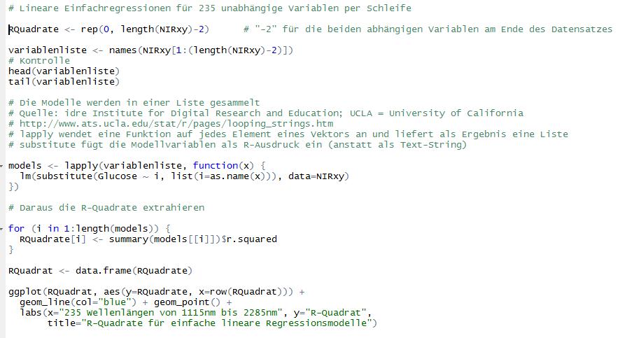 Hier werden 235 lineare Einfachregressionen erstellt und in einer Liste gesammelt. Die R²-Werte werden in einen Vektor geschrieben und anschließend mit ggplot visualisiert. Die wichtigsten Funktionen sind lapply für die Liste mit den 235 Modellen sowie substitute, um die Variablennamen in die Modellgleichung einzufügen.