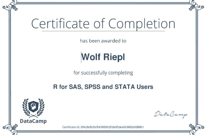 DataCamp Zertifikat: R for SAS, SPSS, Stata Users