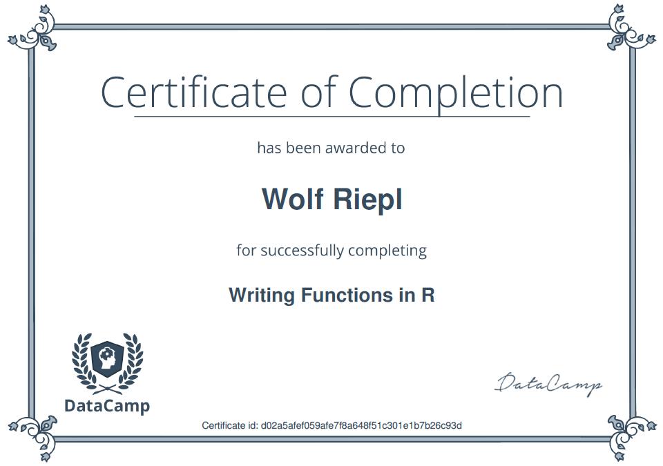 DataCamp Zertifizierung: Writing Functions in R