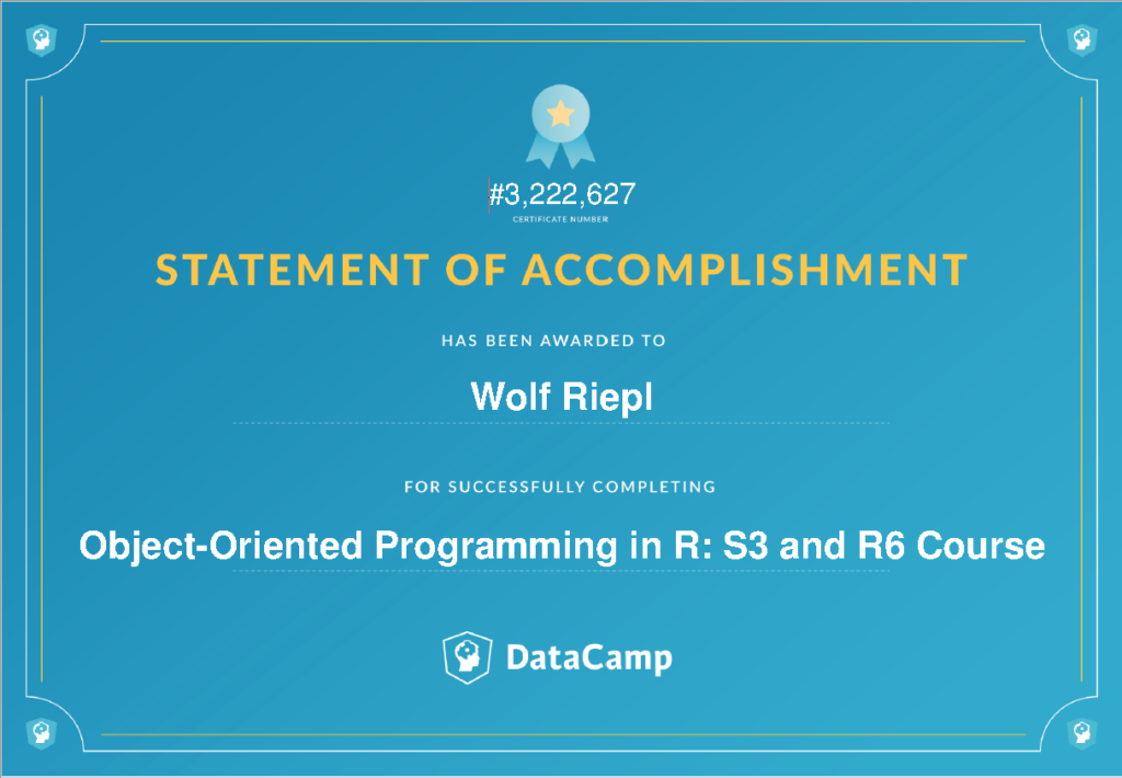 DataCamp Zertifizierung: Object-Oriented Programming in R: S3 and R6