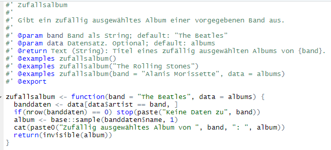 Skript mit Beispielfunktion zufallsalbum() sowie den roxygen-Kommentaren, aus denen die Hilfe erstellt wird