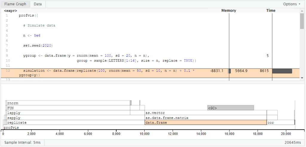 R-Code-Profil mit profvis